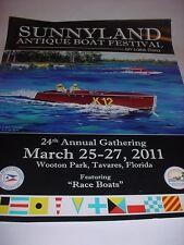 "Lake Mount Dora Sunnyland 16 x 20"" Featuring Vintage Race Boat Boat Poster 2011"