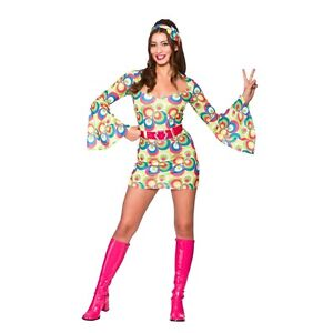 d6896b3ea5b Adult RETRO GO GO GIRL Fancy Dress Pink 60s Blue Swirls Ladies ...