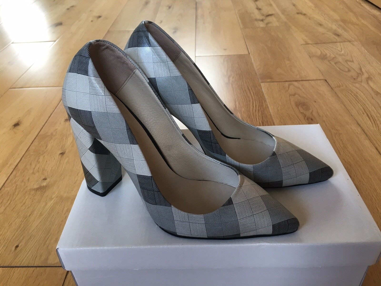 LOS OJO GREY HEEL CHECKERBOARD LEATHER Schuhe BLOCK HEEL GREY COURT Schuhe 4b7f7c