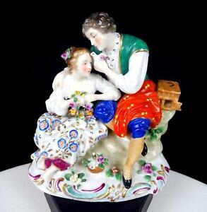 "SITZENDORF DRESDEN PORCELAIN COURTING COUPLE DOVE FLOWERS 4 7/8"" FIGURINE 1884-"