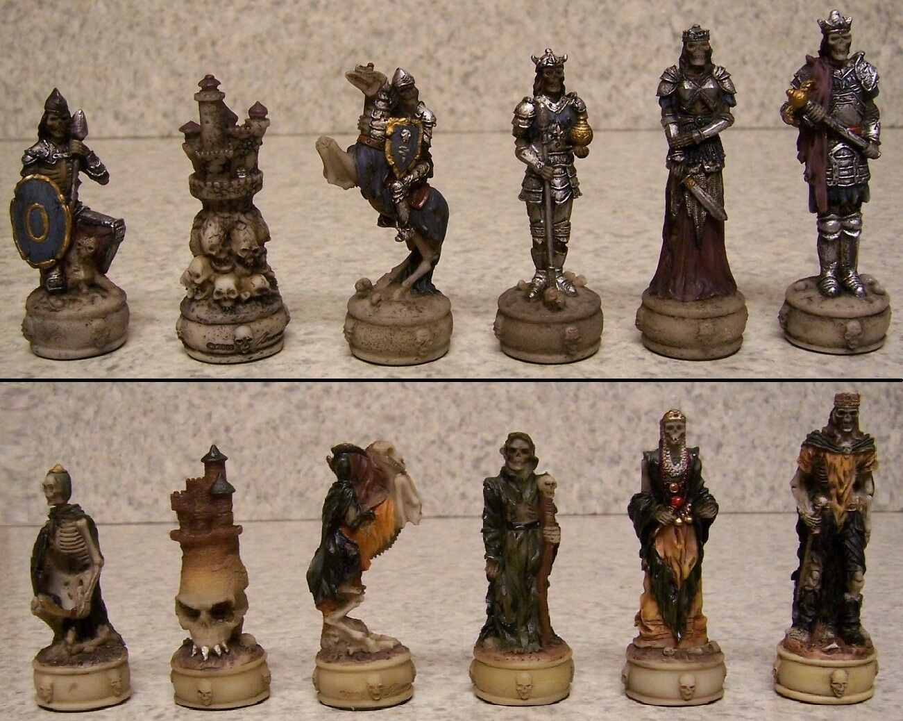 Chess Set Pieces Medieval Skeleton Knights NEW