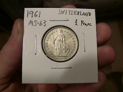 Uncirculated BU One Swiss Franc coin 1961 Switzerland