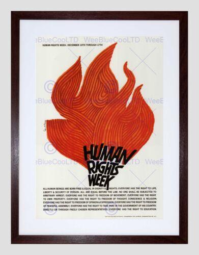 ADVERT CHARITY UNESCO HUMAN RIGHTS FLAME USA BLACK FRAMED ART PRINT B12X4346