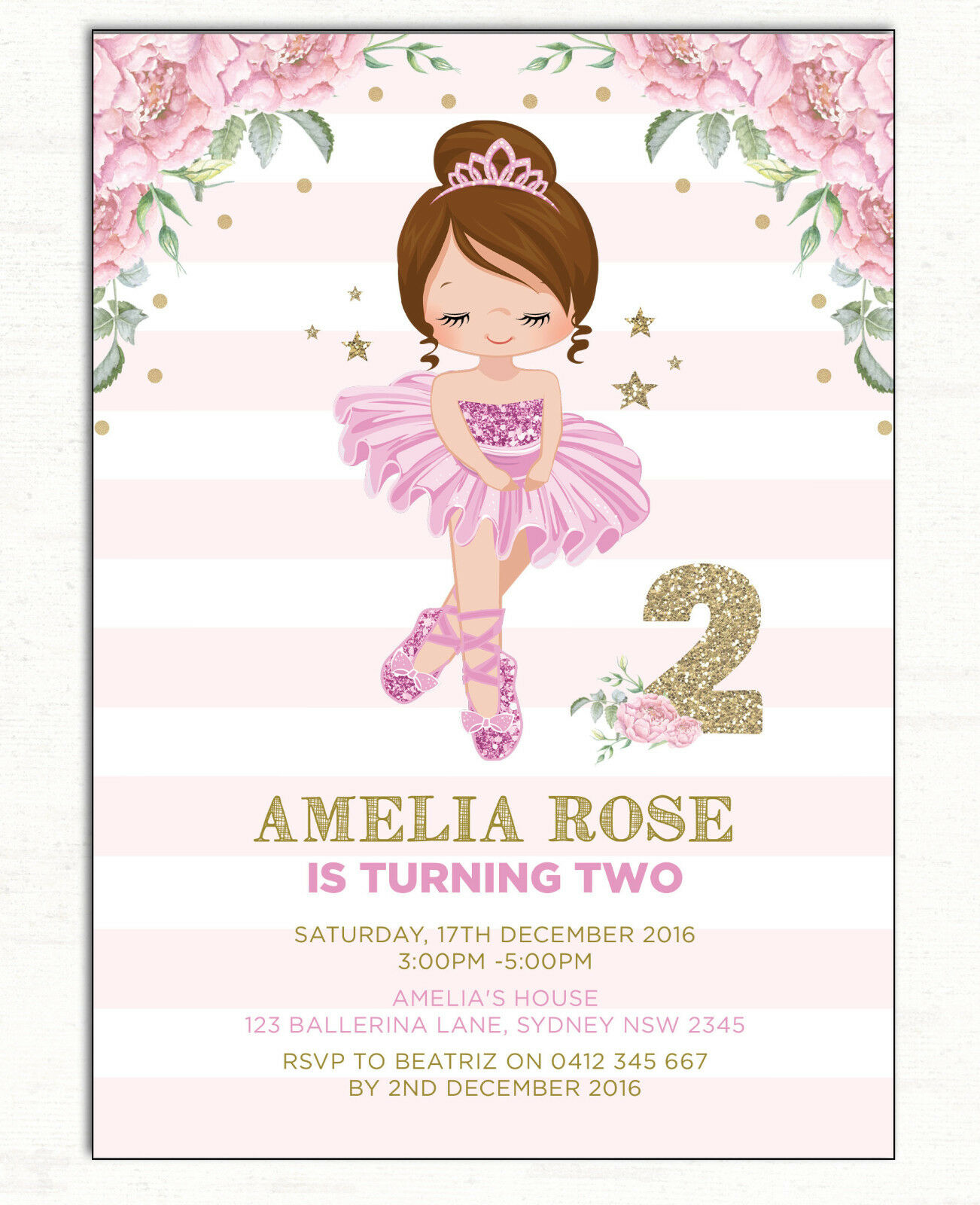 Ballerina Invitation Ballet Dancer Birthday Party Invite Pink Gold ...