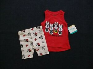 Disney-Baby-Toddler-Girls-2-Piece-Shorts-Outfit-Size-18-Months-Sleeveless-Set
