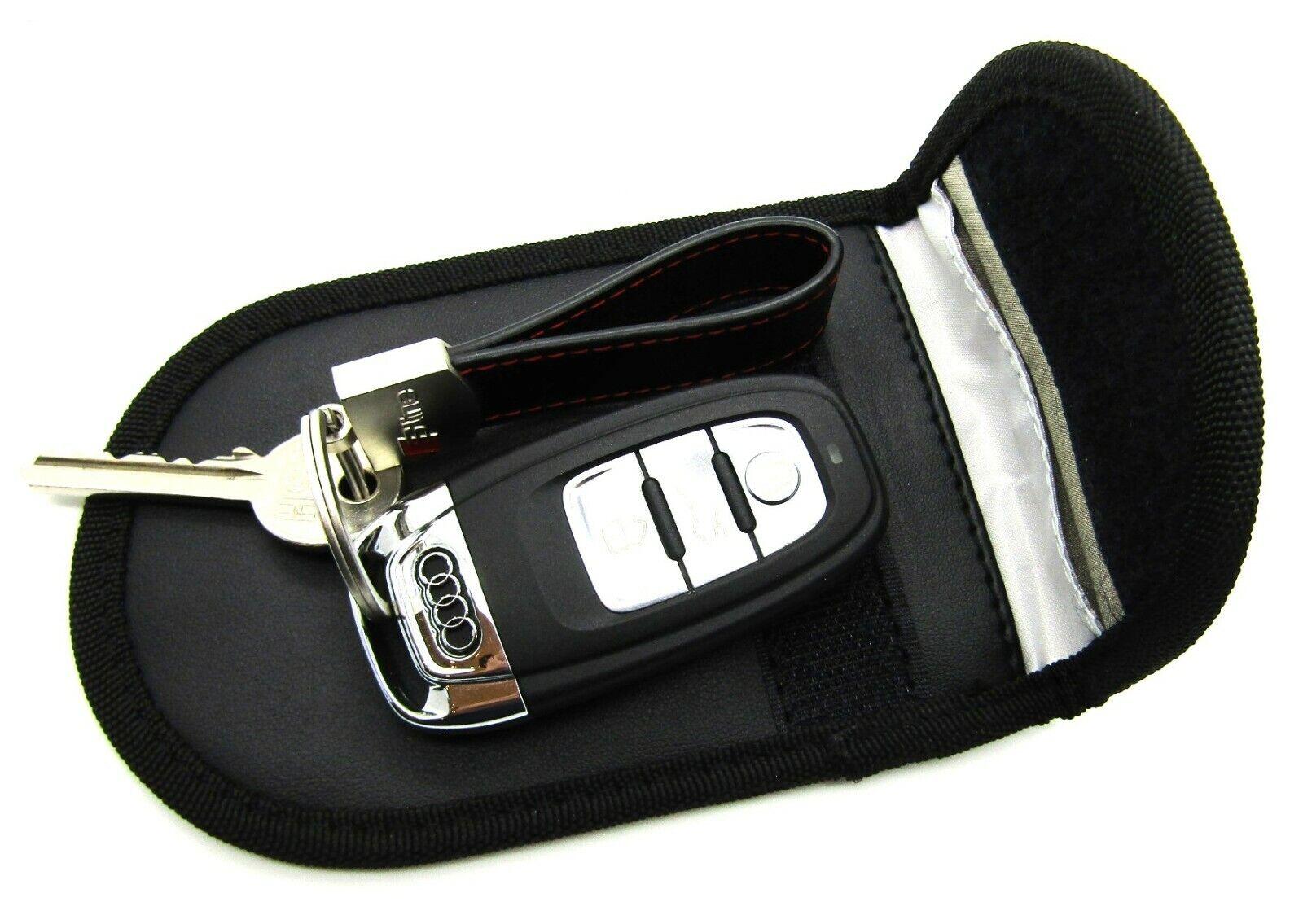 Car Key Signal Blocker Case Faraday Cage Pouch Fob Keyless RFID Black Belt Clip