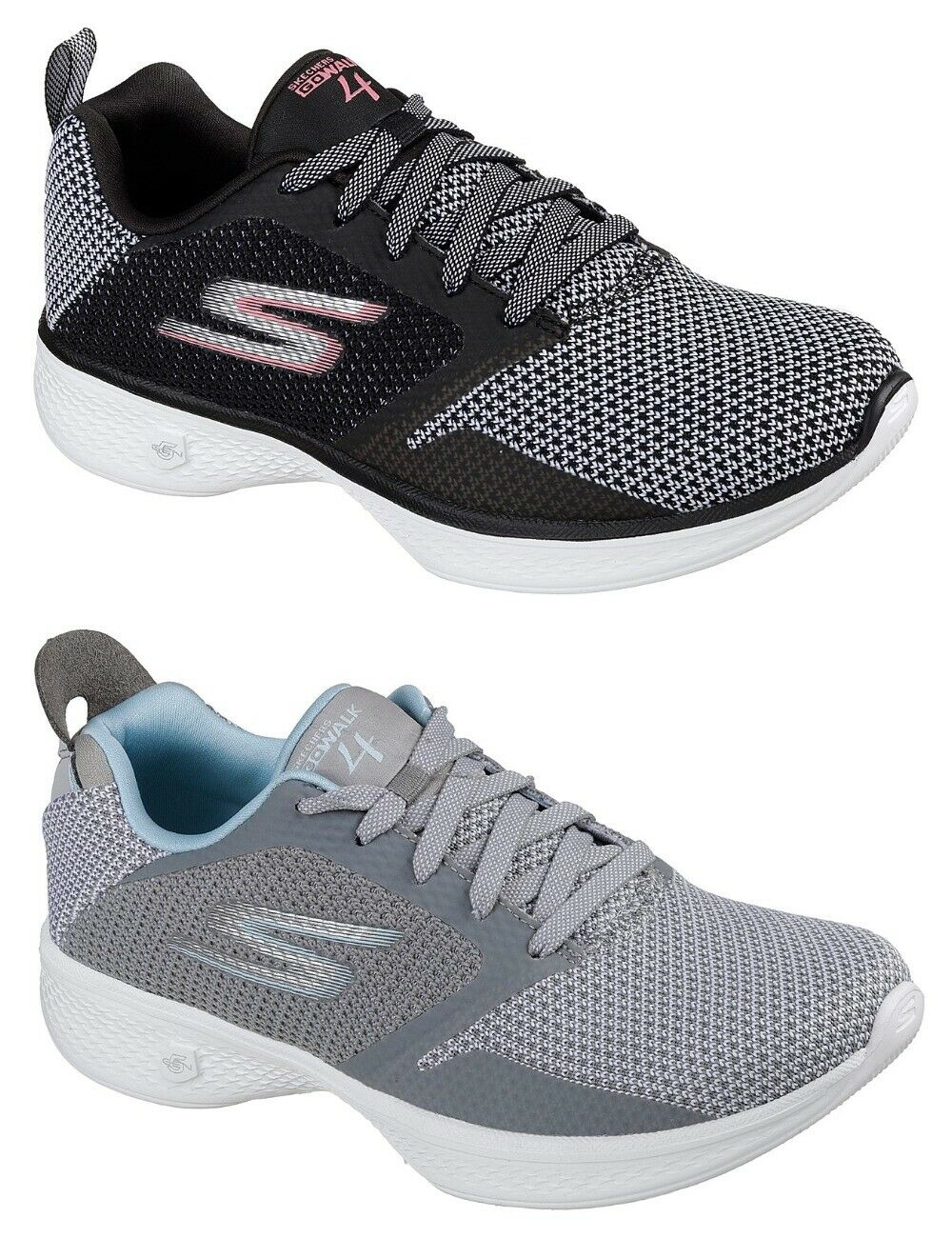 SKECHERS GO WALK 4 EDGE- 14930 BKPK GYLB damen TRAINERS LACE UP MEMORY FOAM