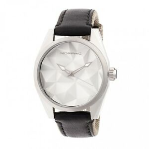 Morphic-M59-Series-Men-039-s-Leather-Overlaid-Nylon-Band-Watch-Silver-5901