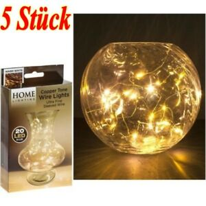 5-Stueck-2M-20er-LEDs-Lichterkette-Draht-Micro-warmweiss-Knopf-batteriebetrieben