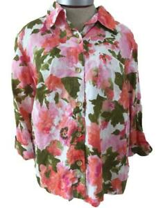 Jones-NY-Sport-blouse-top-size-L-blazer-style-linen-pink-green-floral-3-4-sleeve