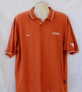 c063113dc NIKE TEAM Texas Longhorns Mens Golf Polo Shirt Size XL Orange Short ...