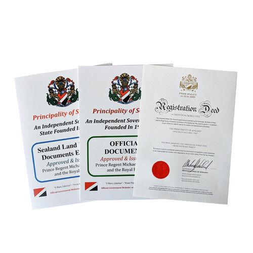 Devenir Sealand Baron ou Baronne titre Premium Pack Personnalisé documents