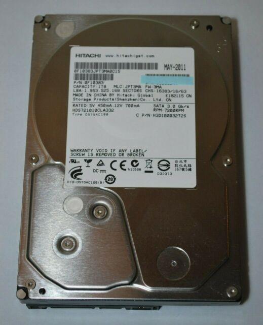 """Hitachi HDS721010CLA332 P/N: 0F10383 MLC: JPT3MA 1TB 2.5"""" HDD"""