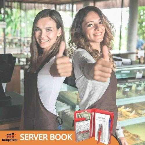 RED 7 Pocket Bundle with WINE OPENER Server Book Waitress Wallet Organizer
