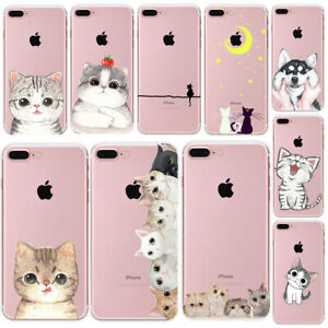 Cute-Cat-Thin-Soft-Rubber-Clear-Phone-Case-Cover-For-iPhone-5-6S-7-8-Plus-Xs-Max