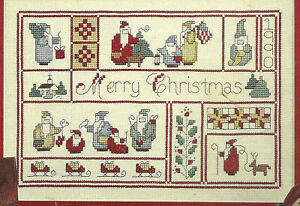 Merry-Christmas-Santa-Sampler-Cross-Stitch-Pattern-from-magazine-Ornaments-more