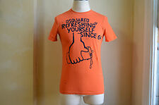 DSQUARED² REFRESHING YOURSELF SINCE 64 WASH OUT STAINED ORANGE FIT T SHIRT S M