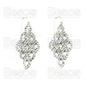 """2""""long CRYSTAL SPARKLE EARRINGS glass RHINESTONE silver plated BRIDAL UK GIFT"""
