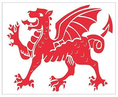 Welsh Rugby Running Dragon Sticker contour cut Wales Rugby Decal
