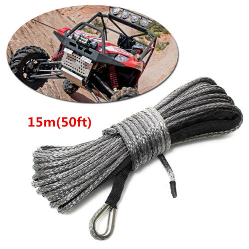5000-5700lbs 50ft ×8mm Nylon Synthetic Fiber Winch Line Cable Rope Car ATV UTV