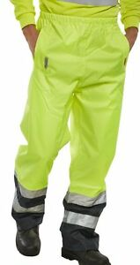 BSeen-High-Visibility-Yellow-Navy-Waterproof-Breathable-Over-Trousers-Work-Pants