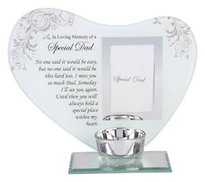 Glass-Heart-Special-Dad-Memorial-Photo-Frame-Tealight-Tea-Light-Candle-Holder