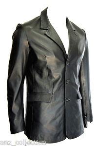 Manhattan Black Nappa Stylish Classic Soft Italian Nappa Sheep Leather Blazer