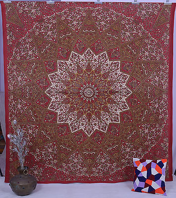 Indian Red Star Hippie Mandala Elephant Wall Hanging Tapestry Queen Throw Ethnic