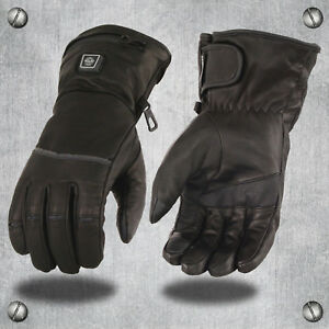 HEATED-Waterproof-Leather-Gauntlet-Gloves-Motorcycle-Snowmobile-Skiing-ATV-Biker