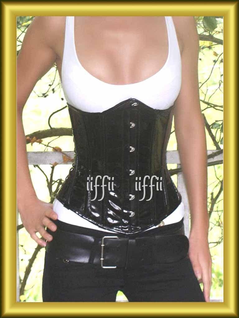 Bustino corsetto seno in pvc vernice black 34 56