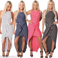 Ladies Womens Maxi Dress Striped Bodycon Fishtail  White Black Navy Red S M L