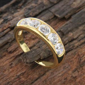 Men-039-s-Real-14k-Yellow-Gold-Round-Cut-White-Diamond-Fashion-Wedding-Band-Ring