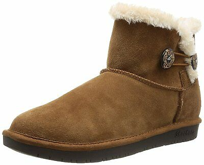 Skechers Shelbys Ottawa WOMEN'S Ugg Slip On Ankle Boots Suede Leather Chesnut