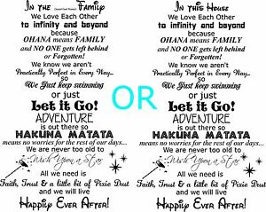 Details about In the (insert last name) family In this House movie quotes  wall decal let it go
