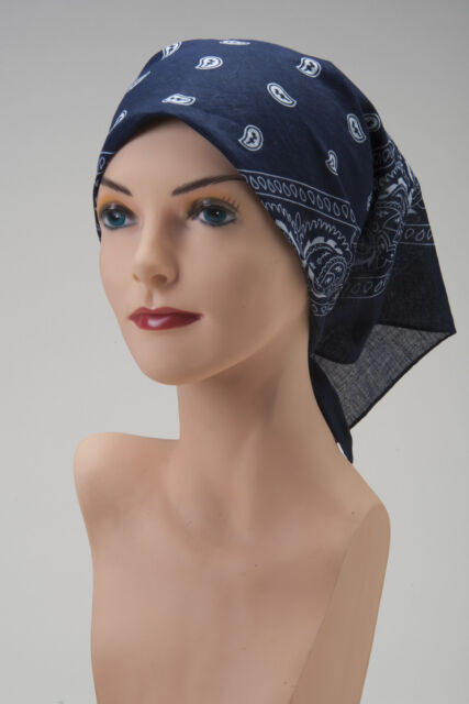 CHEMO Bandana Scarf NAVY BLUE White Turban Hat Cap For Cancer Patient  Headcover 9fe3a4cf2e9