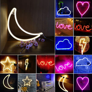 Image Is Loading Small Neon Sign Lightning Heart Cloud Moon Star