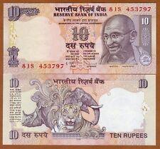 India, 10 Rupees, 2009, P-95d, UNC > Gandhi, Rhino, Elephant, Tiger