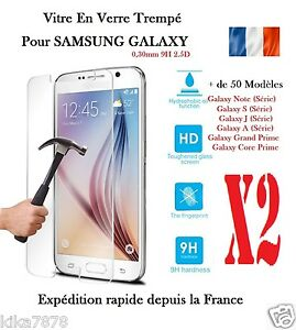 Lot-2-Vitre-Film-Protection-Verre-Trempe-Samsung-Galaxy-S5-S6-J5-S7-Grand-Prime