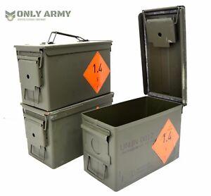NEW-British-Army-50Cal-Ammo-Box-Storage-Ammunition-Surplus-Issue-Tool-Box-Metal