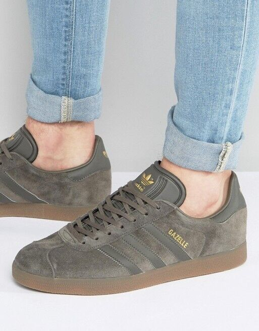 Adidas Gazelle Utility Grey Suede Gum Brown GOLD Sneakers Shoes BB2754 Men's 11