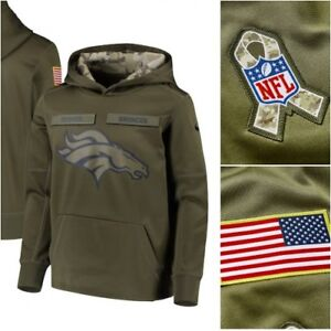 the best attitude 30d92 01c4d Details about Mens NFL 2018 Salute to Service Pullover KO Hoodie Denver  Broncos Small