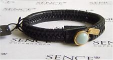 SENCE COPENHAGEN Leder Armband Summer Planet black / gold / light green