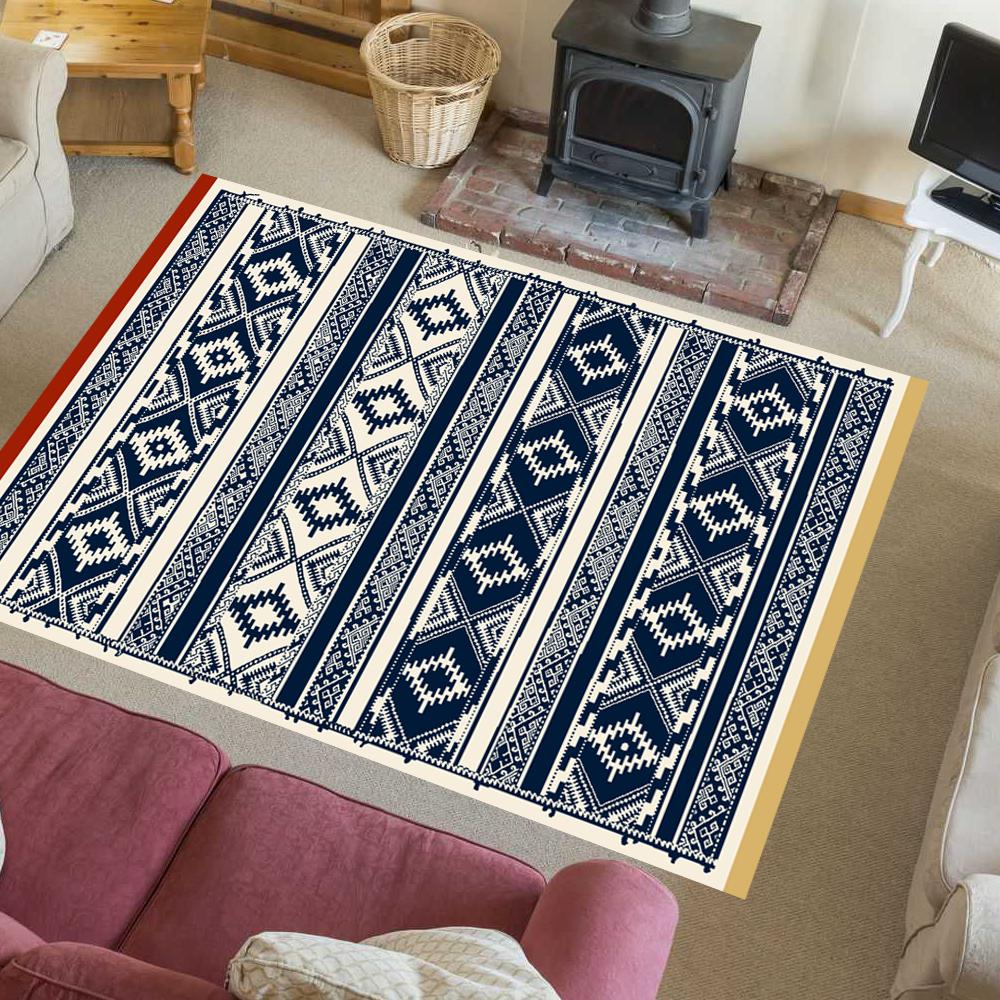TAPPETO Elegante Modern Nordisch Vintage Retrò Look Gelsomino Blu Scuro-CREMA