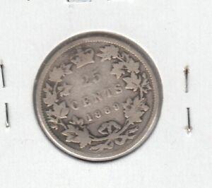 1889-Canada-Twenty-Five-Cents-Key-VG