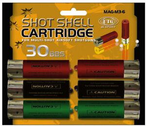 UTG-AIRSOFT-M3-MULTI-SHOT-SPARE-SHOTGUN-SHELLS-6-PACK-EXTRA-MAGAZINE-CLIP-GUN