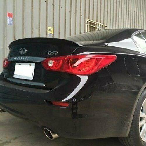 Flat Black 284PDL Rear Trunk Lip Spoiler Wing For Infiniti Q50 V37 2014~18 Sedan