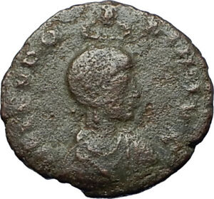 EUDOXIA-Arcadius-Wife-401AD-Authentic-Ancient-Roman-Coin-VICTORY-CHI-RHO-i68197