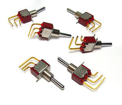 vergoldete Kontakte! 6x Mini-Kipp-Schalter mit Chrom-Hebel ON-OFF-ON C/&K 7103