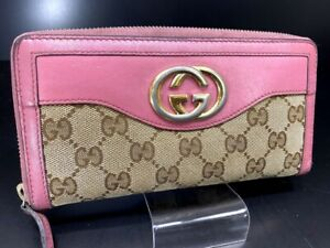 Auth-GUCCI-GG-Interlocking-Pink-Canvas-Leather-Zip-Round-Long-Wallet-Purse-Y1159
