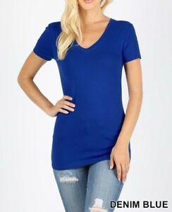 Womens-V-Neck-Basic-Shirts-Short-Sleeve-Cotton-Spandex-Top-T-Slim-Fit-S-M-L-XL